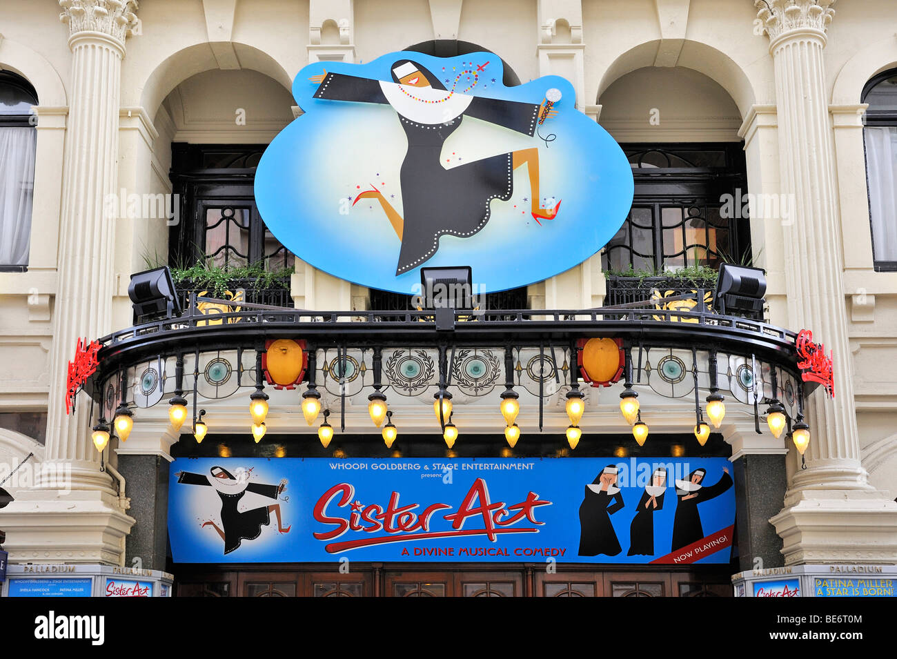 Banner and logo of the Sister Act Musical Theater in the Soho district, London, England, United Kingdom, Europe - Stock Image