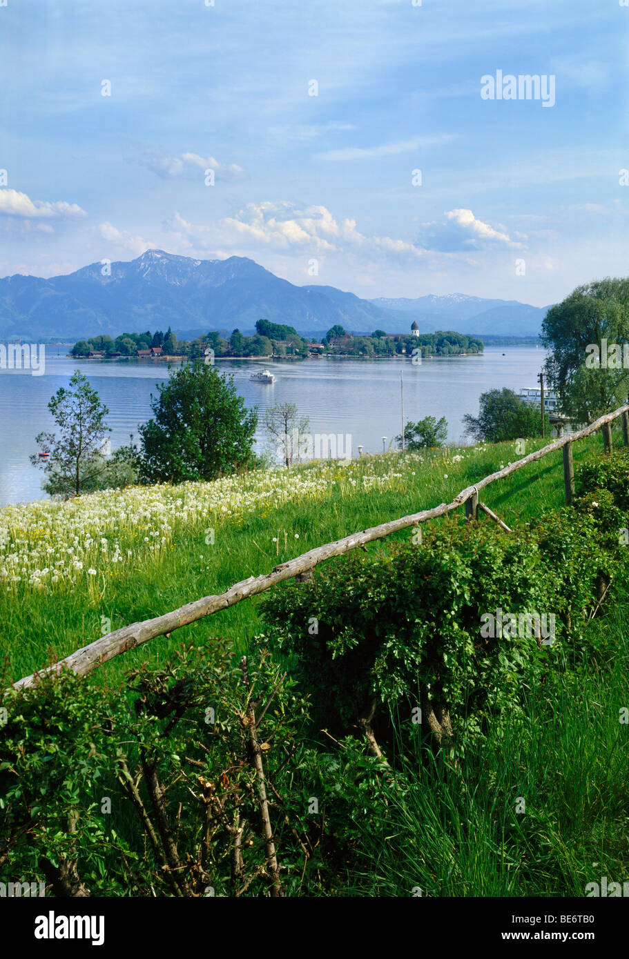 The Island Fraueninsel, Chiemsee lake in front of the Hochgern Mountain, Chiemgau, Upper Bavaria, Bavaria, Germany, Stock Photo