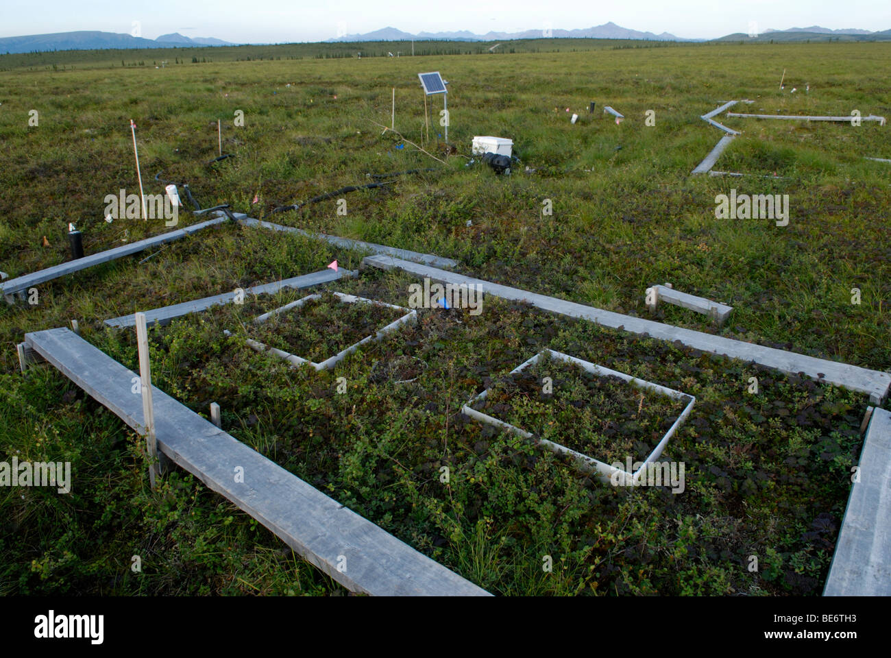 Climate change research site, Alaska.  Carbon dioxide release from thawing permafrost is measured along with tundra - Stock Image