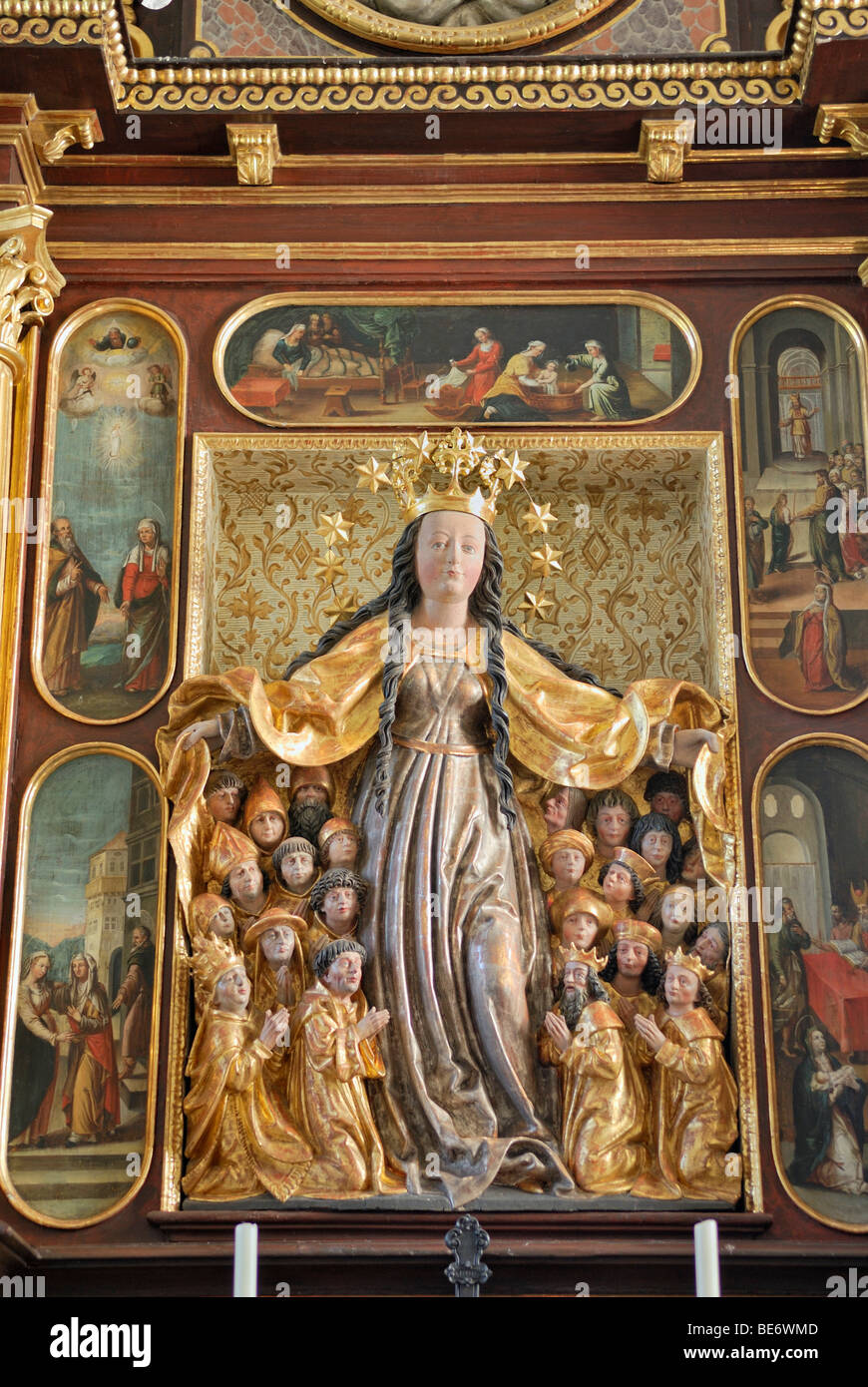 Baroque altar with sheltering-cloak Madonna, Maria-Schutz-Kirche church of the Protection, Fischbachau, Upper Bavaria, - Stock Image