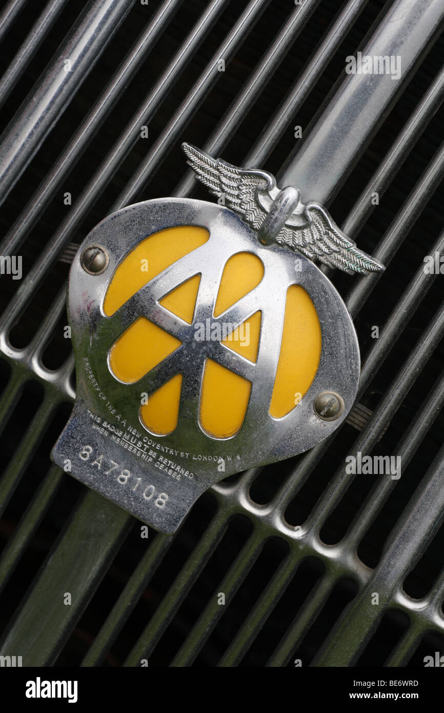 Automobile Association Club badge on old car - Stock Image