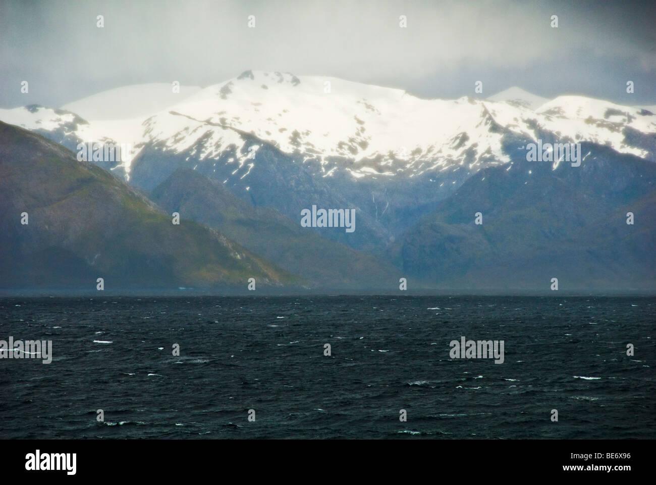 Scenic view of Strait of Magellan near Punta Arenas, Chile - Stock Image