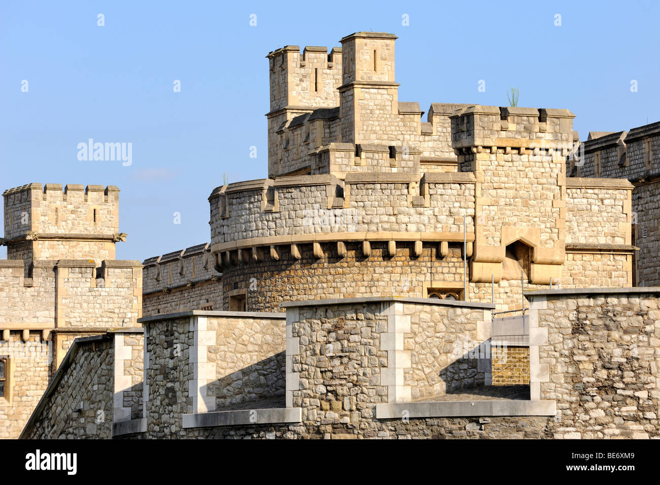 Defense towers with battlements of the Tower of London, England, United Kingdom, Europe - Stock Image