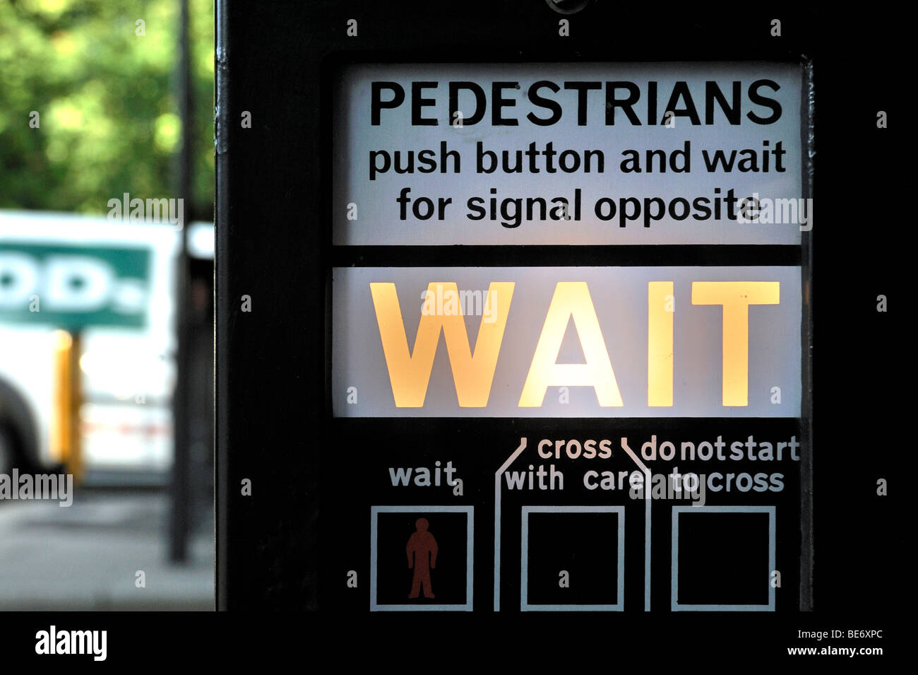 Operating instructions of a pedestrian crossing in London, England, United Kingdom, Europe - Stock Image