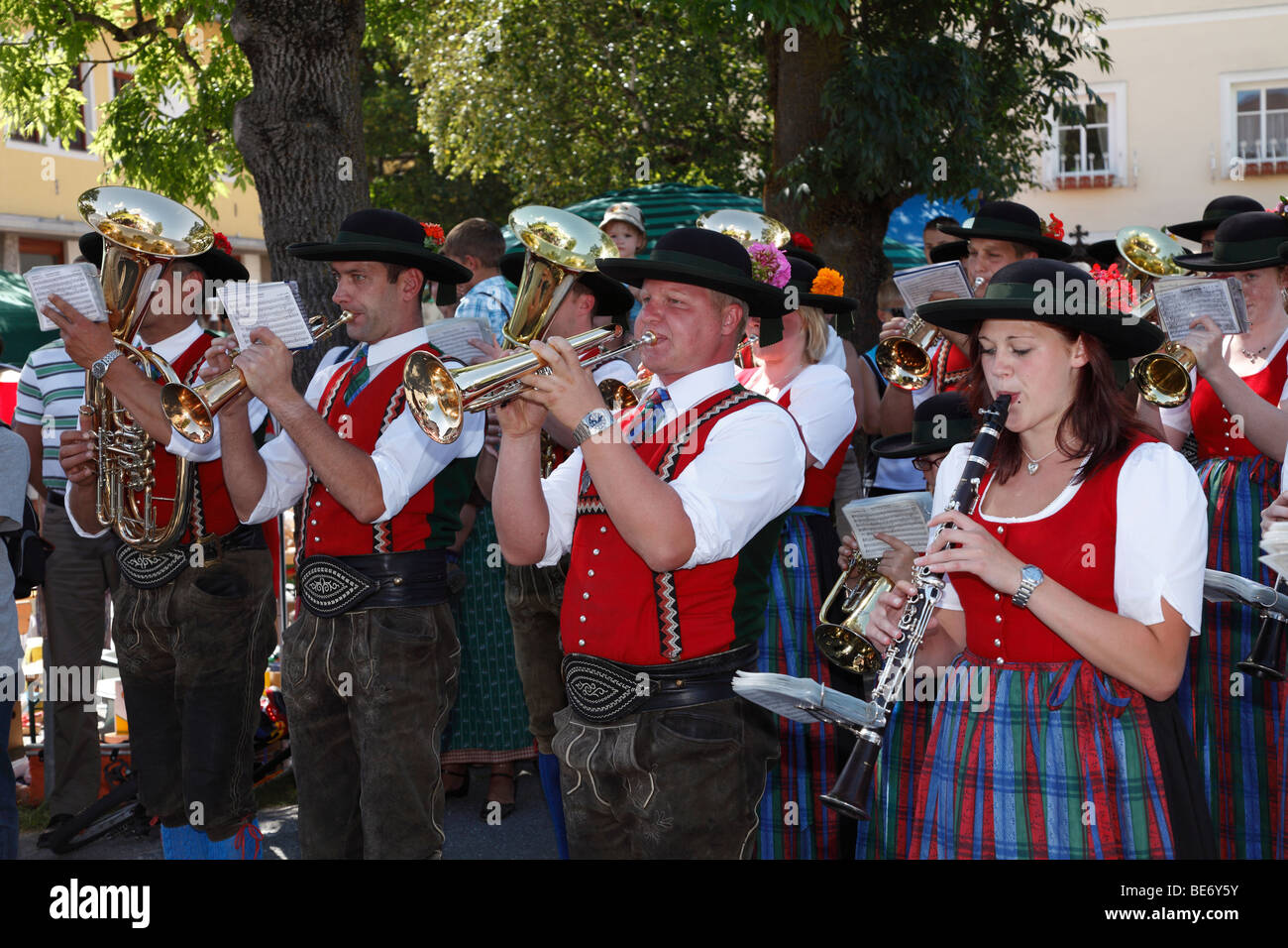 Folk music band at the Samson Parade in Mariapfarr, Lungau, Salzburg state, Salzburg, Austria, Europe - Stock Image