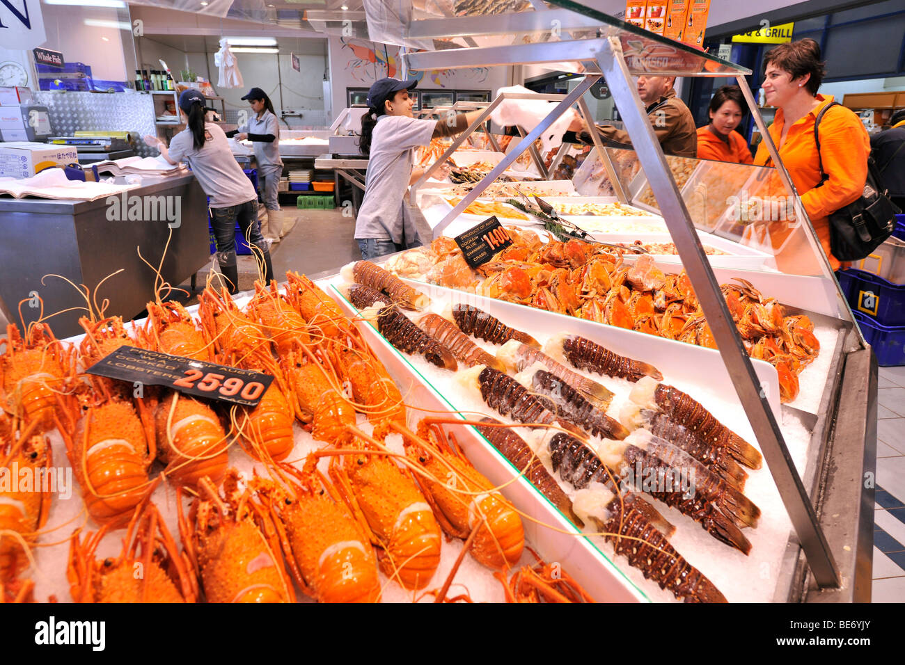 Australian cooked and fresh Lobster, Sydney Fish Market, Sydney, New Stock Photo: 25968963 - Alamy