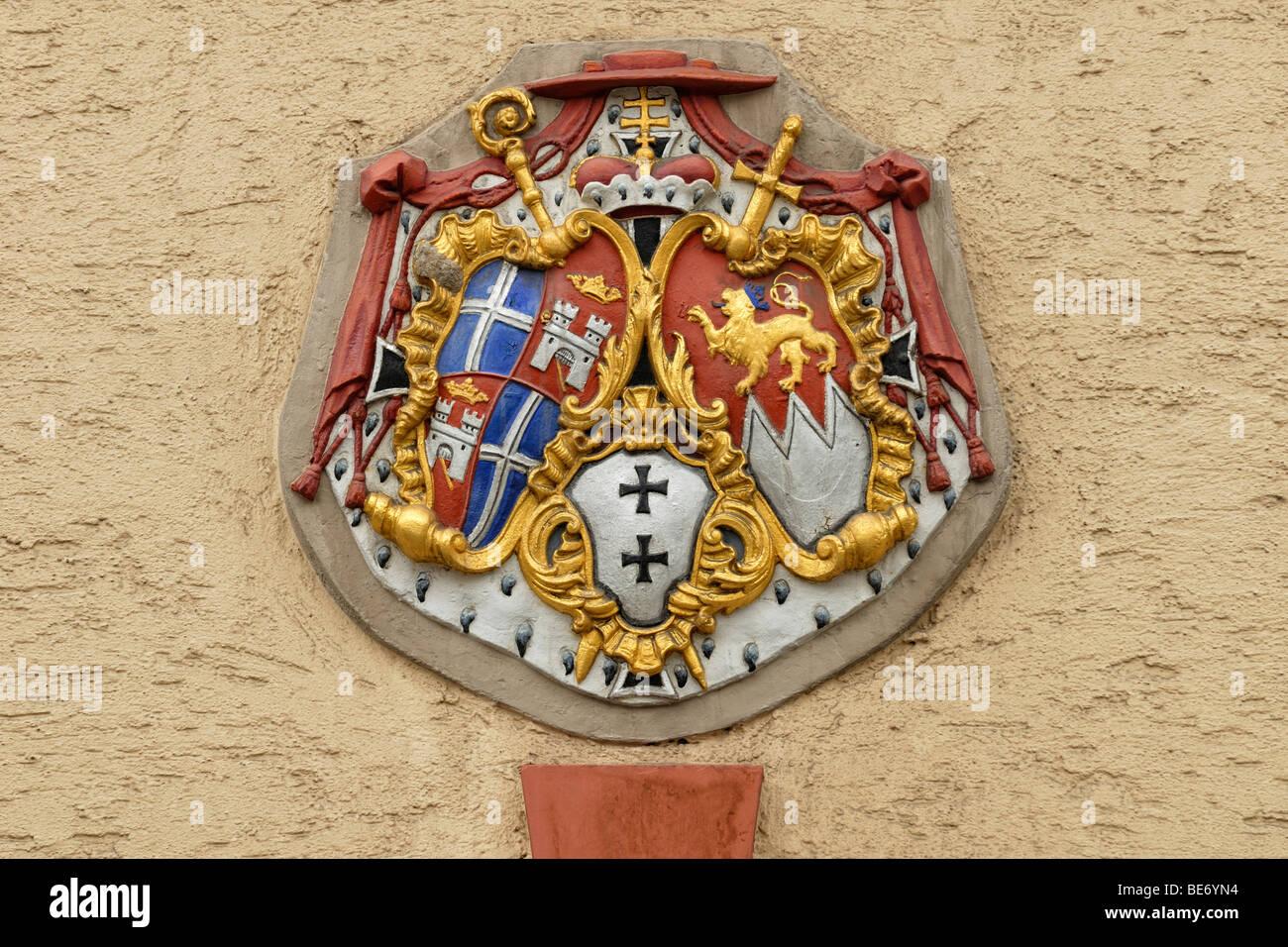 Coat of arms of the Bishopric of Speyer under cardinal Damian Hugo Graf von Schoenborn, Bruchsal, Baden-Wuerttemberg, - Stock Image