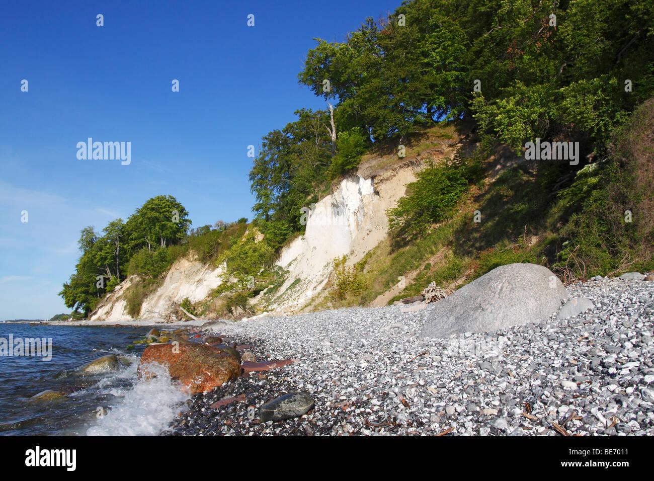 Chalk cliffs at the Baltic Sea coast, landscape in Jasmund National Park, Isle of Ruegen, Mecklenburg-Western-Pomerania, Stock Photo