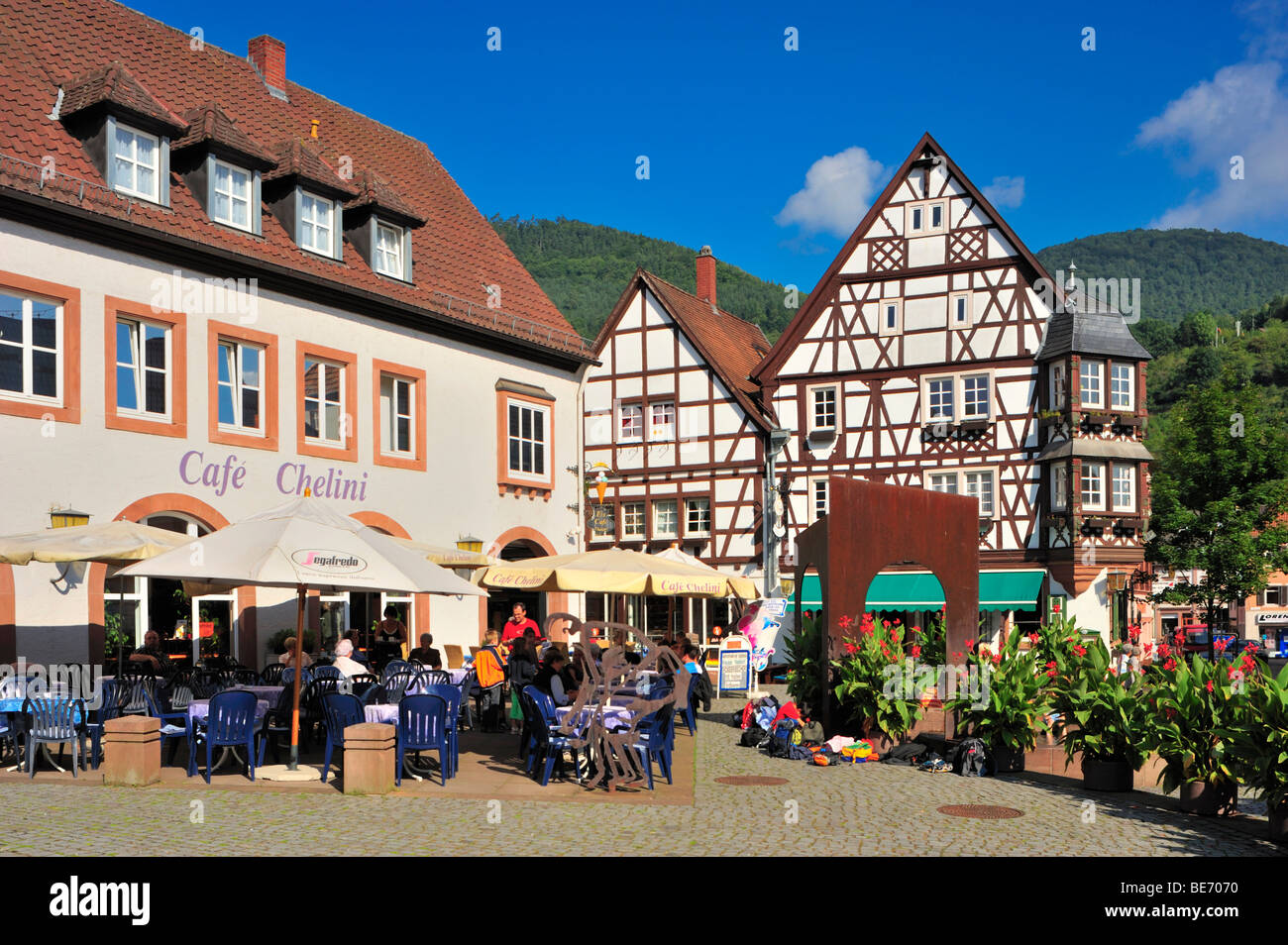 Town hall square with the Keysereck, timbered house, Annweiler, Naturpark Pfaelzerwald, Palatinate, Rhineland-Palatinate, - Stock Image