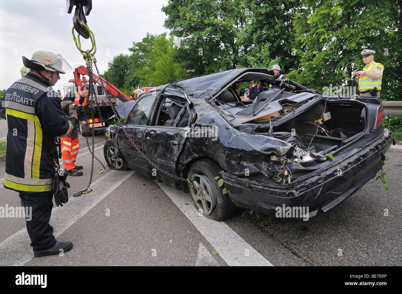 Fatal traffic accident, 7 series BMW car gone off the road