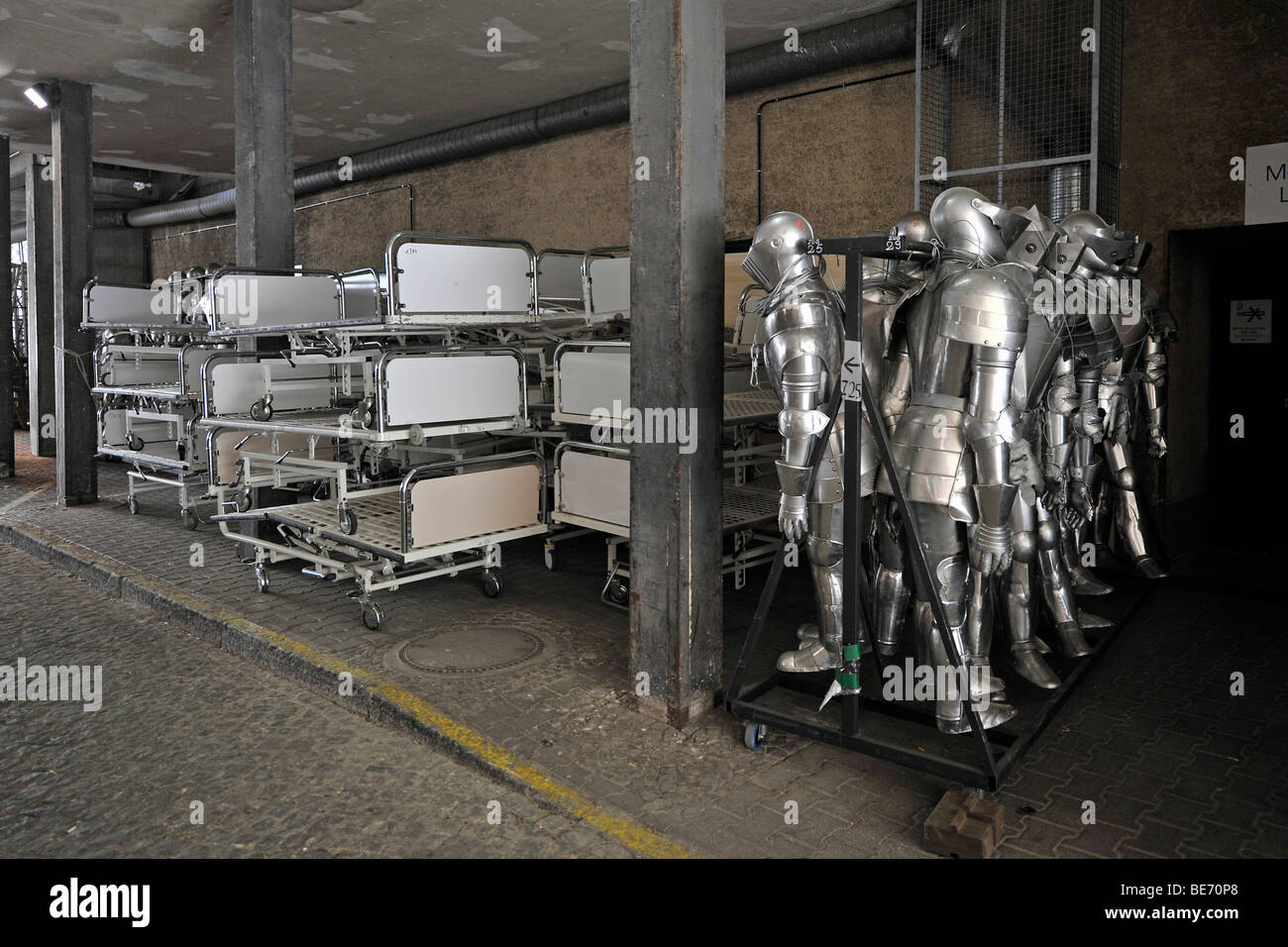 Hospital beds and knight's armour as props, Deutsche Oper Berlin, German Opera in Berlin, Germany, Europe - Stock Image