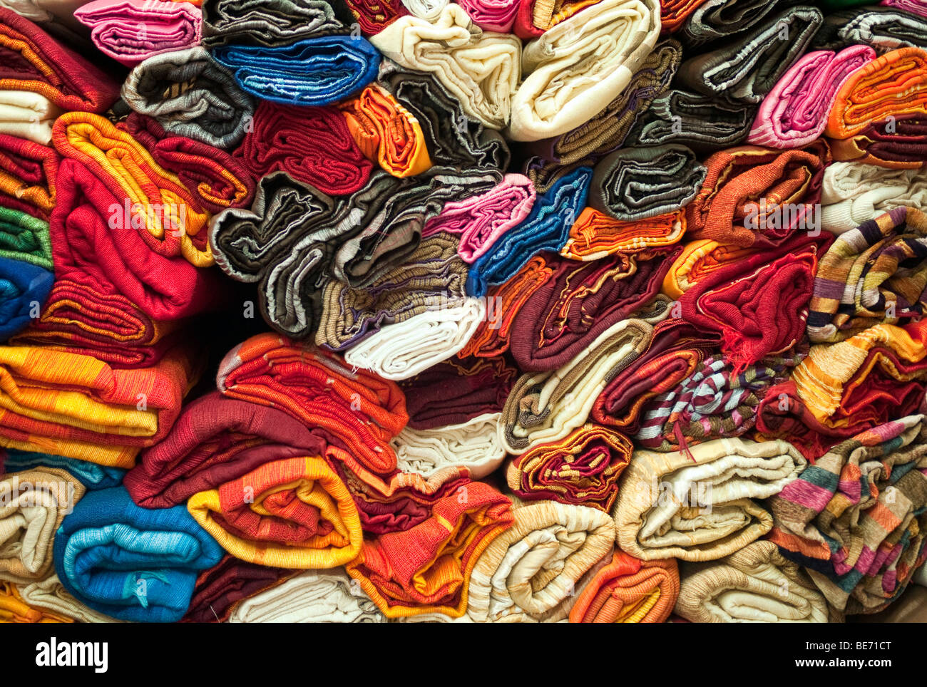 Colorful textiles in the Suq, Medina, Marrakech, Morocco, Africa - Stock Image