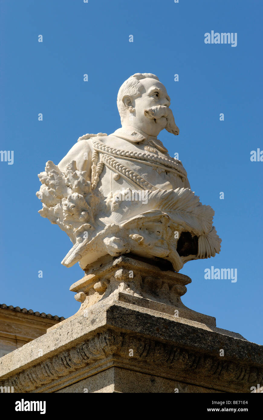 Bust of King Umberto I of Italy, Piazza Republica, Pizzo, Calabria, Italy, Europe - Stock Image