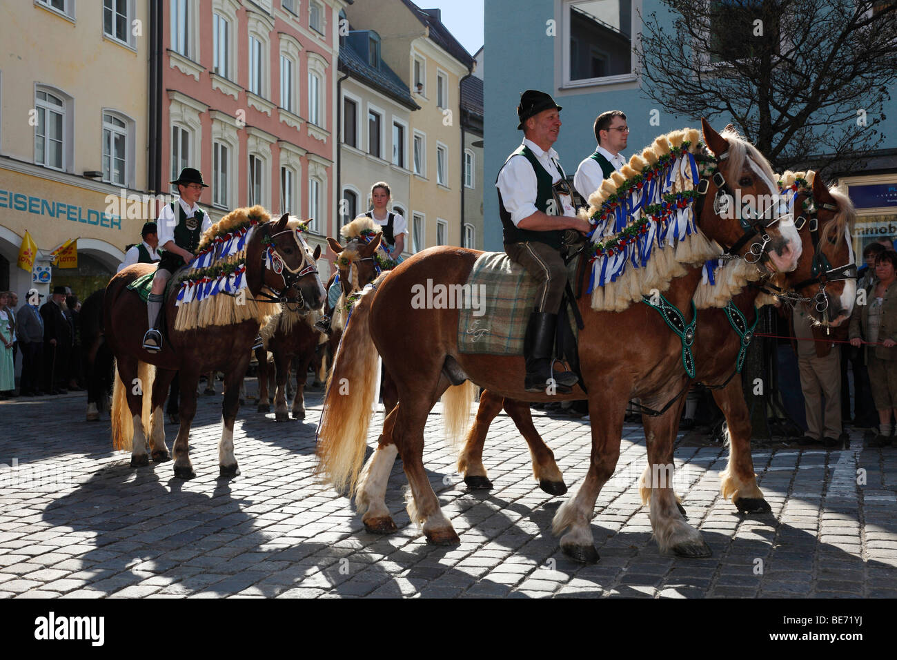 Georgiritt, George's Ride, Easter Monday procession, Old Town, Traunstein, Chiemgau, Upper Bavaria, Bavaria, Germany, Stock Photo