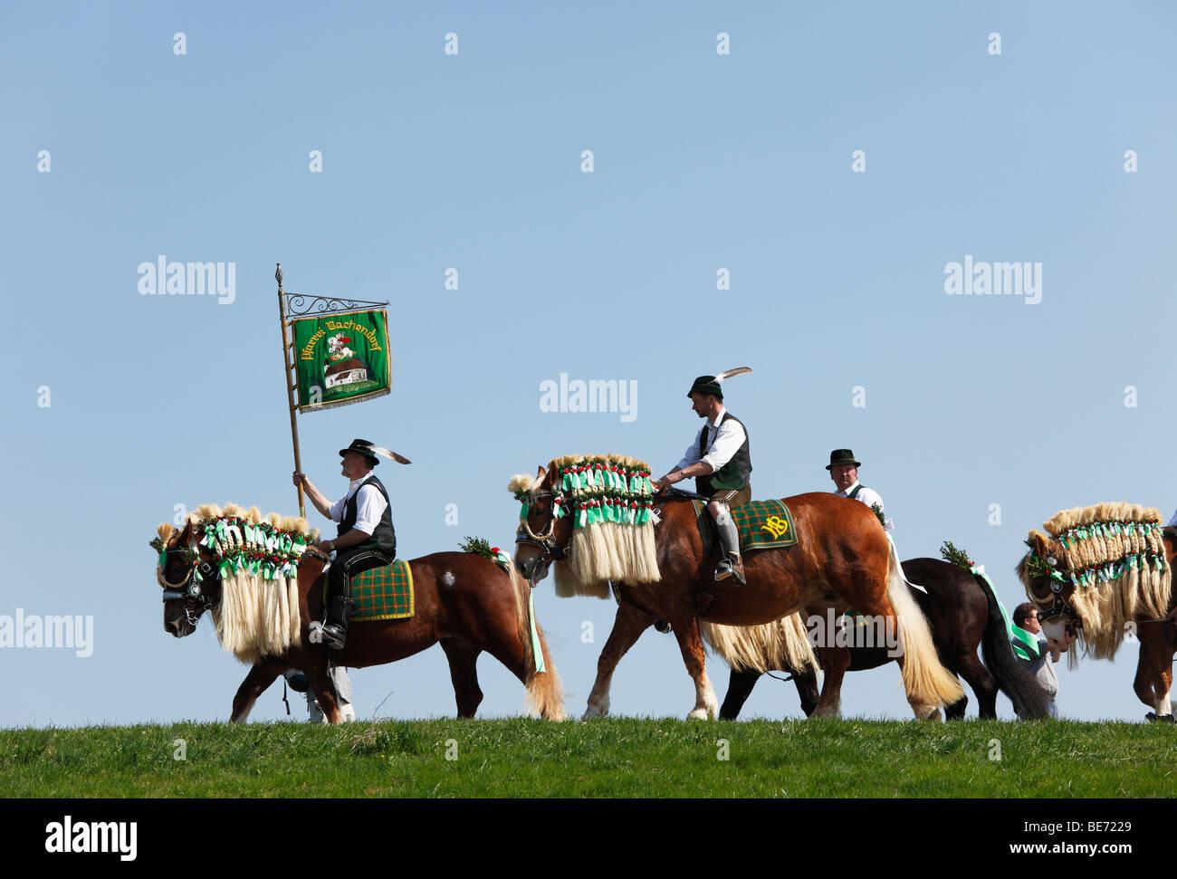 Georgiritt, George's Ride, Easter Monday procession to the Ettendorf Church, Traunstein, Chiemgau, Upper Bavaria, Stock Photo
