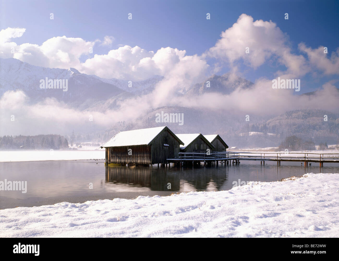 Kochelsee lake below the Heimgarten mountain, Upper Bavaria, Germany, Europe Stock Photo
