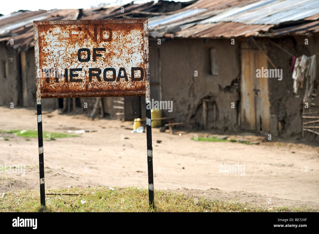 'End of the road' sign in a village in Uganda. - Stock Image