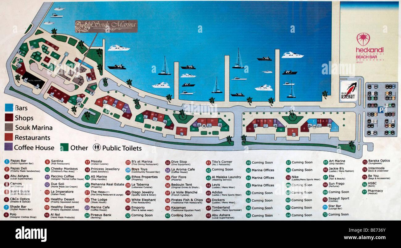 Guidepost, marina, Hurghada, Egypt, Red Sea, Africa Stock Photo