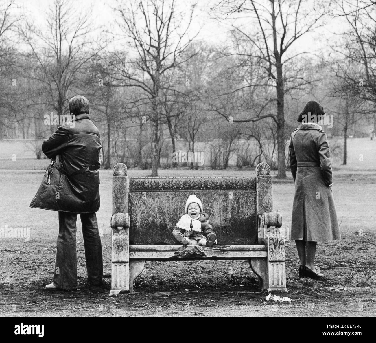 Crying child, parents at odds, Leipzig, GDR, East Germany, historical photo, about 1978 - Stock Image