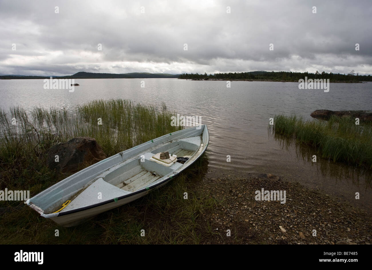 Rowboat on Lake Inari, Finland, Europe - Stock Image