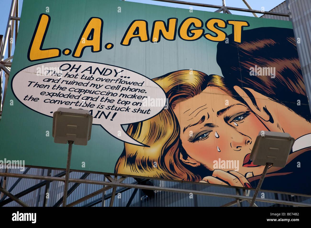 Pop Art Billboard Depicting Film Characters In LA Angst Los Angeles California - Stock Image