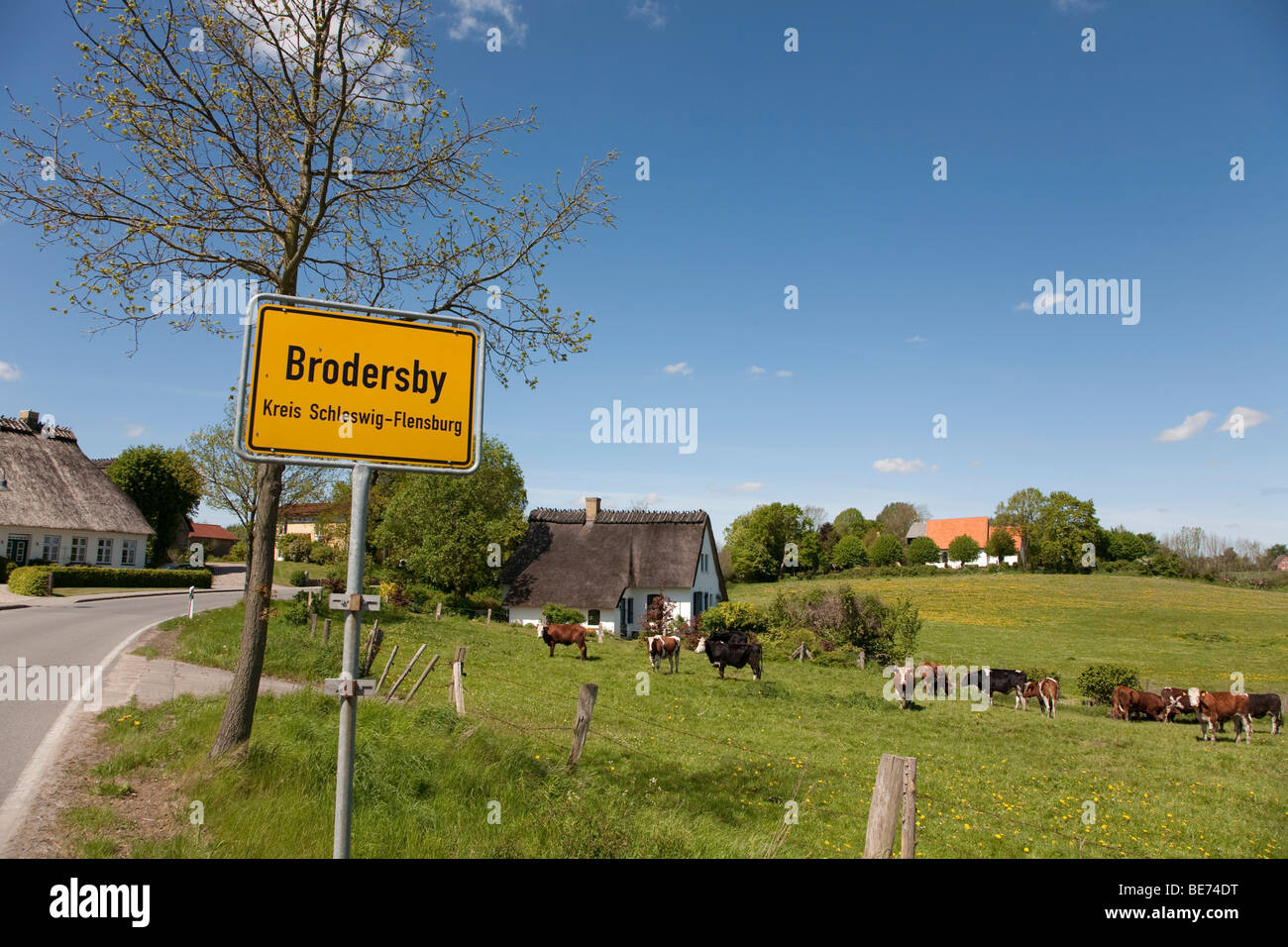 Place-name sign, Brodersby municipality, Angeln region, eastern down, Schleswig-Holstein, Germany, Europe - Stock Image