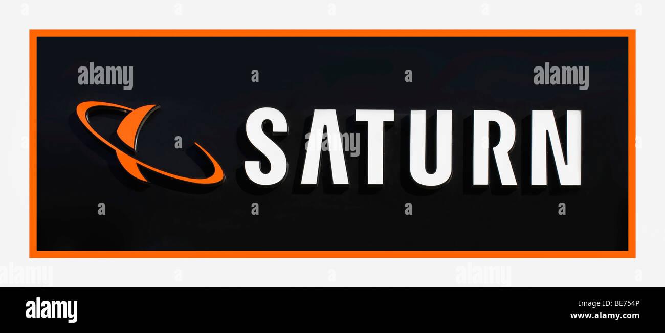 Saturn logo, electronics store - Stock Image