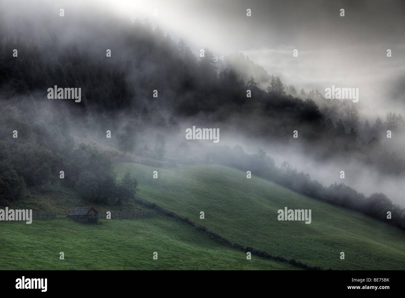 Morning fog near Tamsweg, Lungau, Salzburg state, Salzburg, Austria, Europe - Stock Image