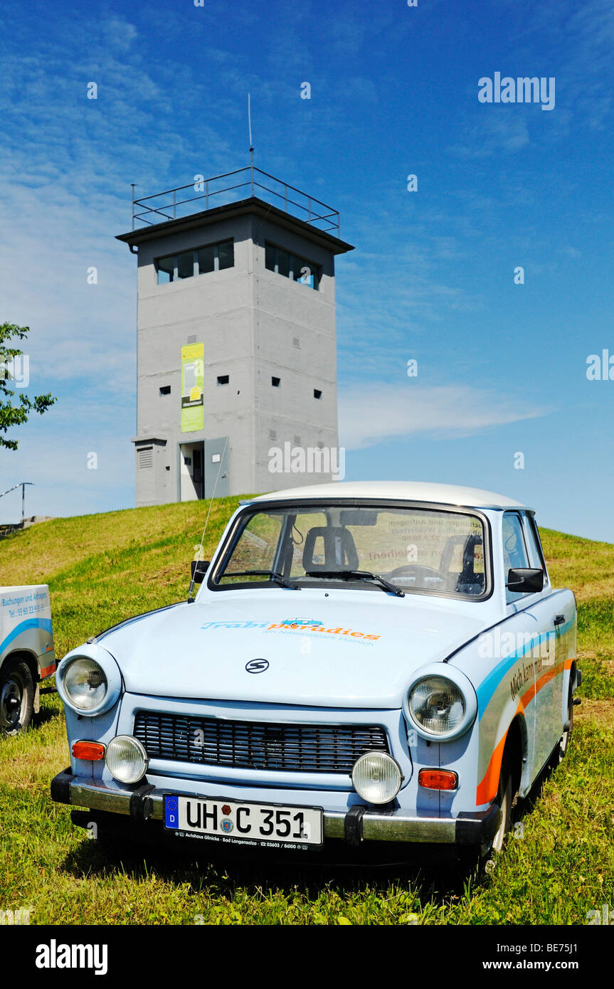 Trabi car in front of the museum and memorial in the border tower Katharinenberg at the former inner-German border, - Stock Image