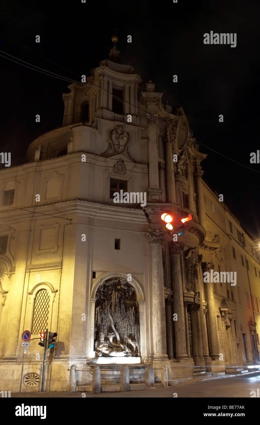 Rome, Italy. San Carlino by night. - Stock Image
