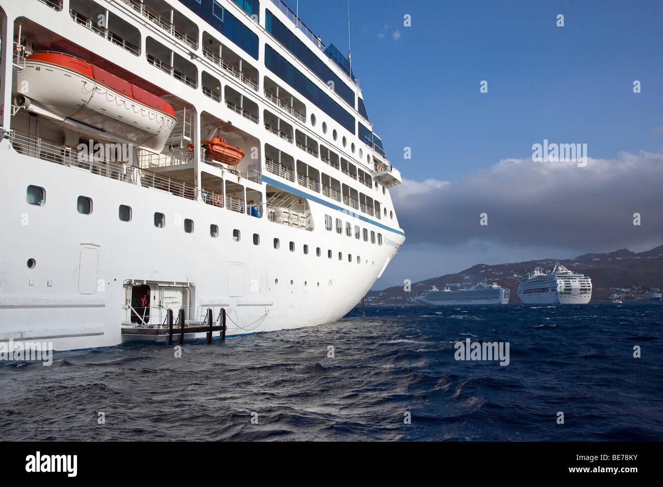 Mykonos Greece Cruise Ship Azamara Quest Anchored - Stock Image