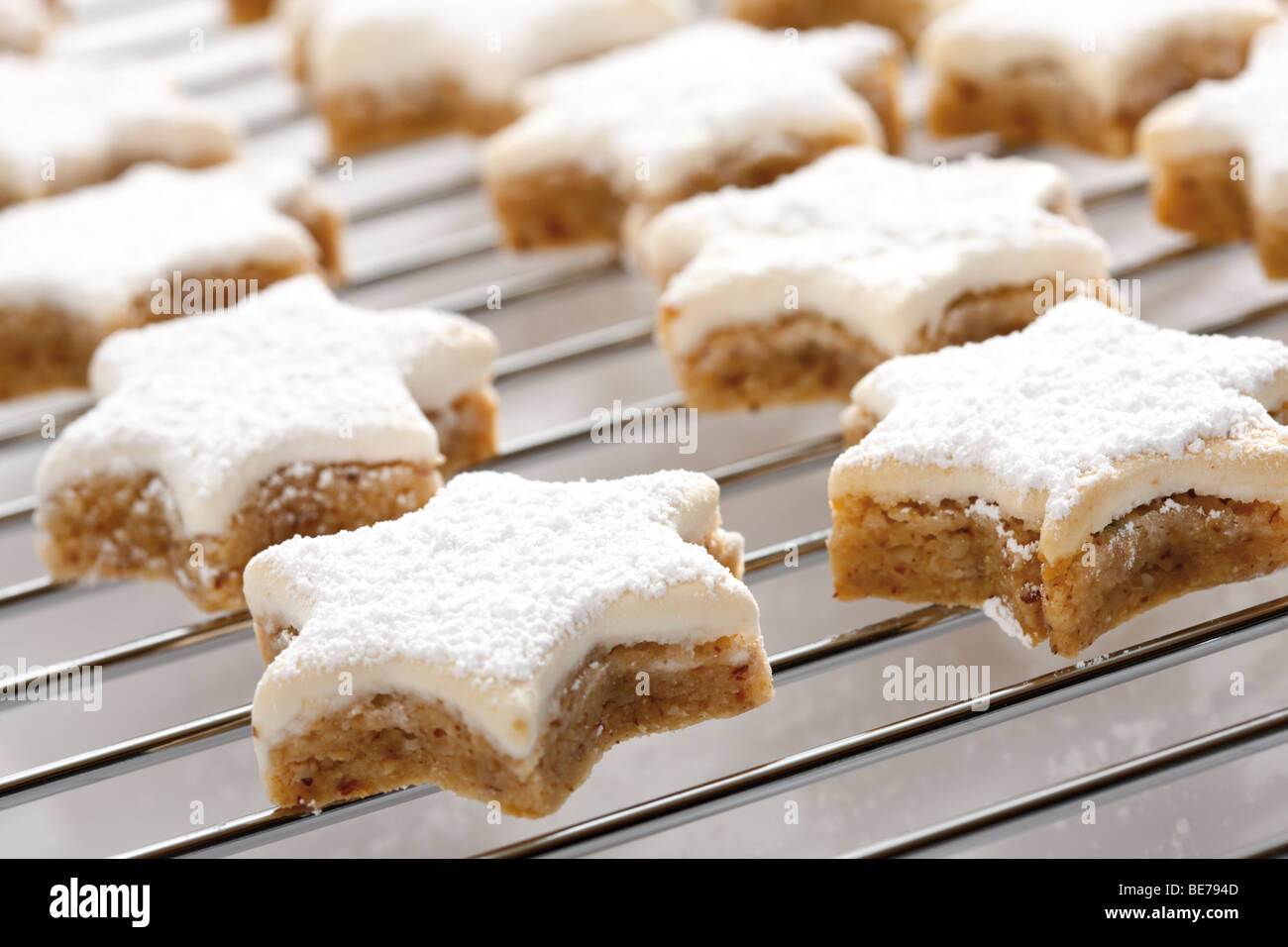 Cinnamon cookies on oven grid Stock Photo