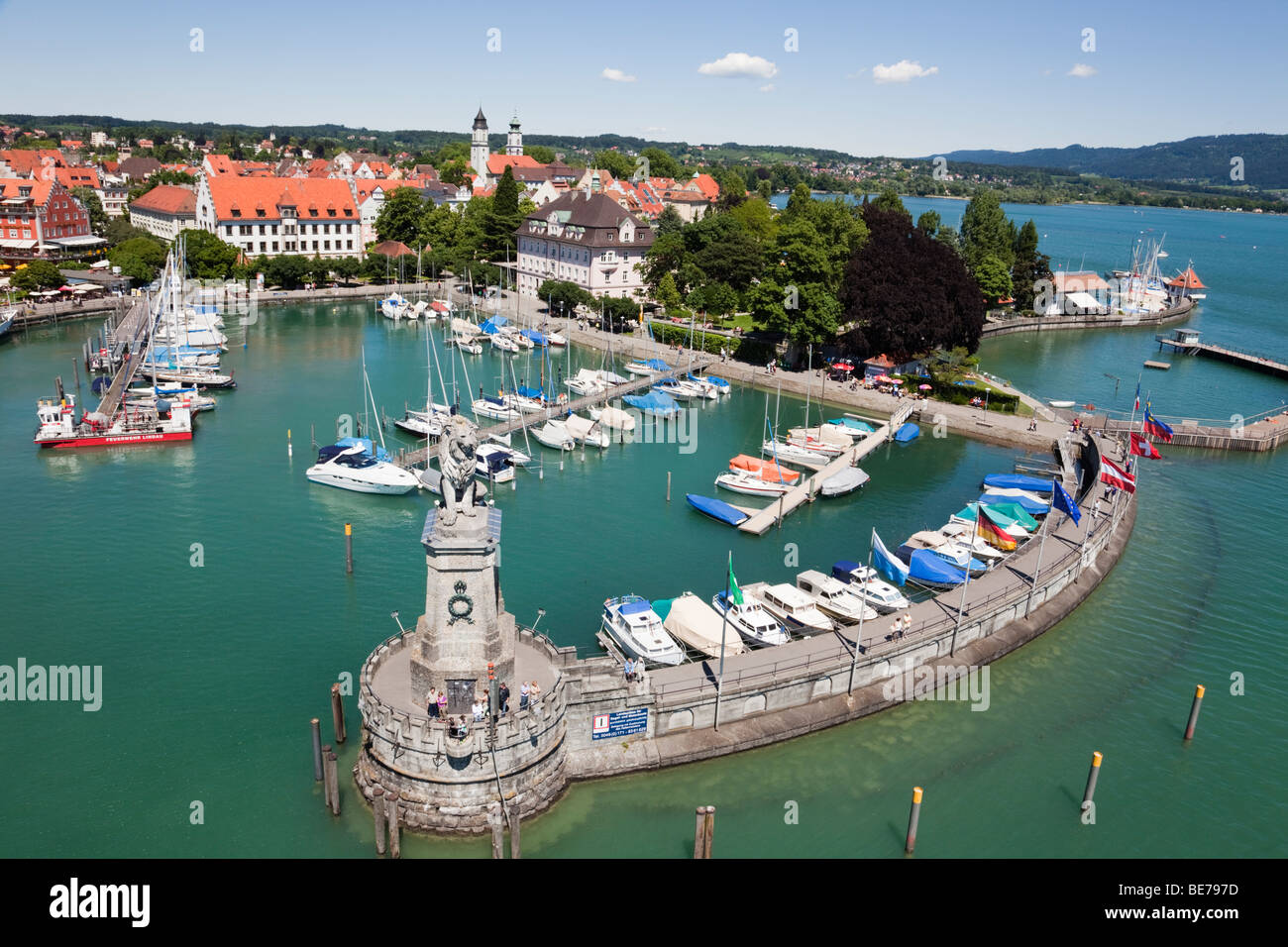 Lindau, Bavaria, Germany. Aerial view of boats in harbour and picturesque old town waterfront on Lake Constance Stock Photo