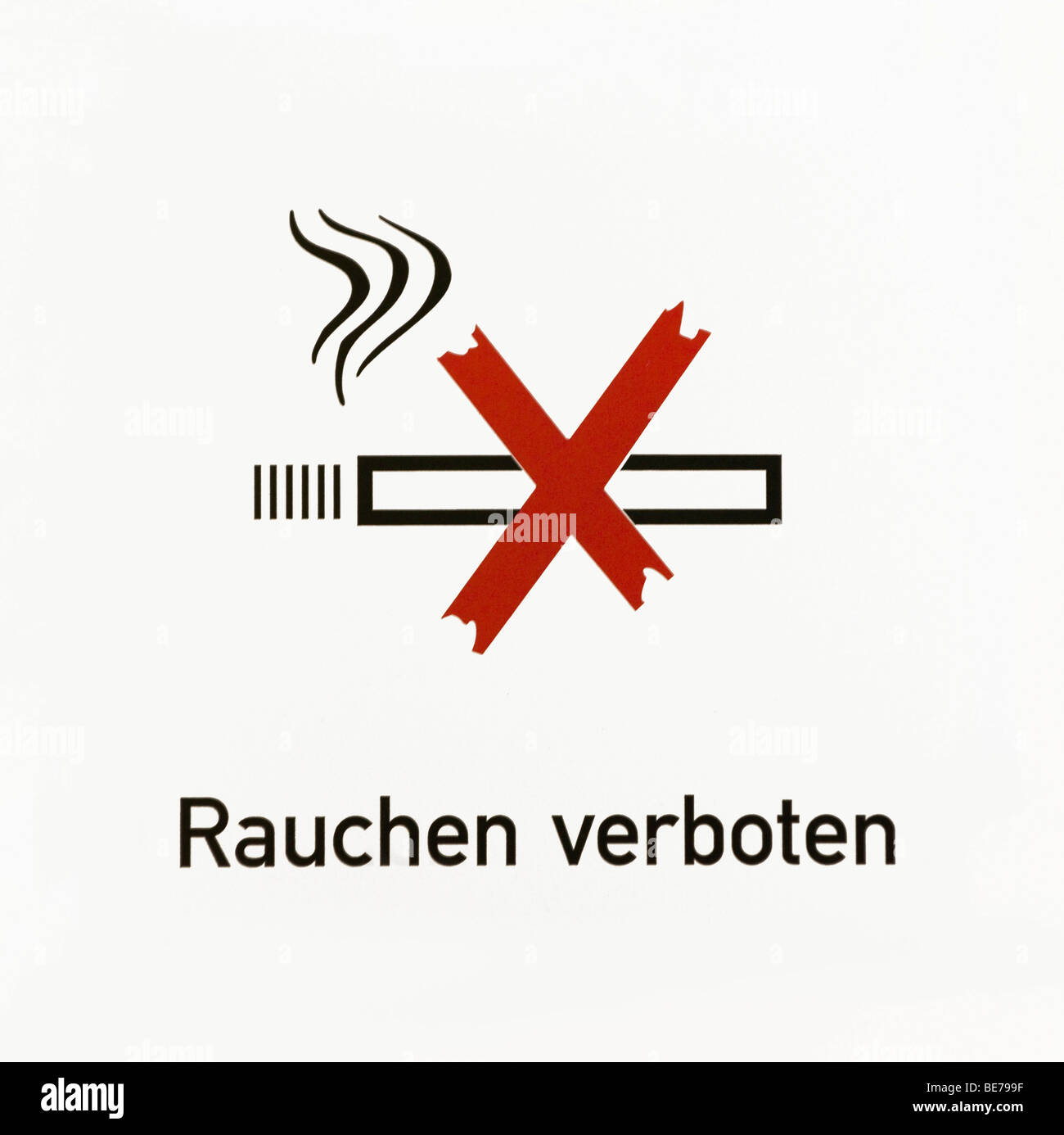 Sign, Rauchen verboten, German for smoking is prohibited, with pictogram - Stock Image