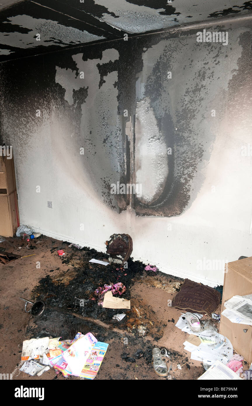 Burn Pattern On Lounge Wall From Settee Fire Started By
