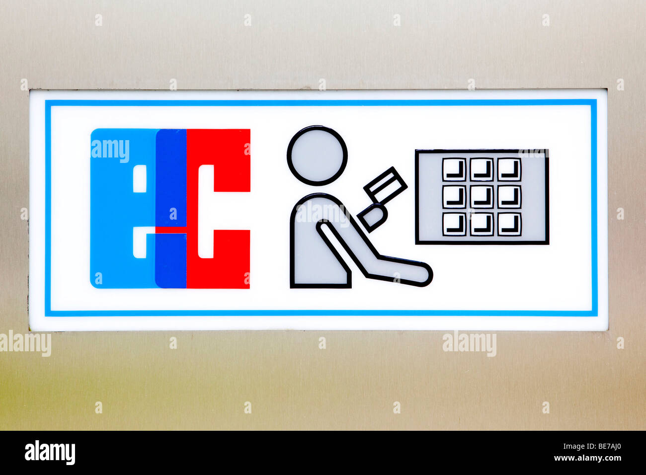 Sign for an EC cashpoint - Stock Image
