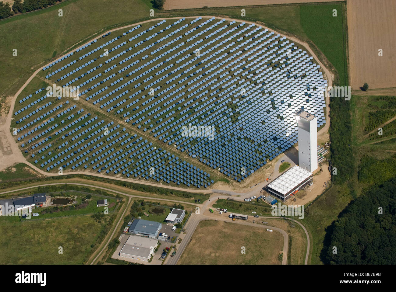 aerial photo of solar thermal energy pilot power plant - Stock Image