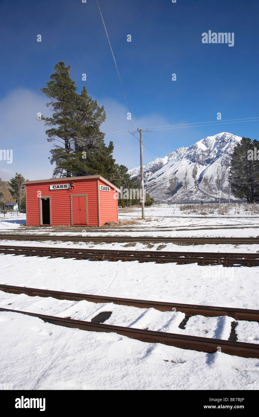 Cass Railway Station, Arthur's Pass Road, and Mt Misery, Canterbury, South Island, New Zealand - Stock Image