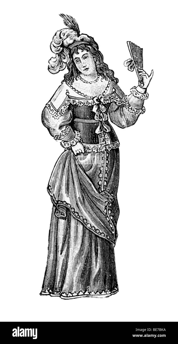 German costume, 1640, Historical Illustration from: Anna Fischer Dueckelmann: The woman as home doctor, 2 Aufl 1907, - Stock Image