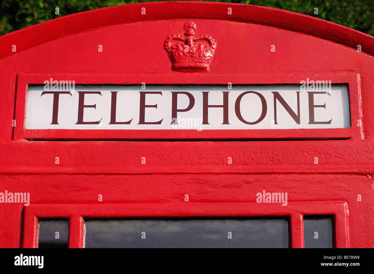 Red Telephone Box, Close Up, United Kingdom. - Stock Image