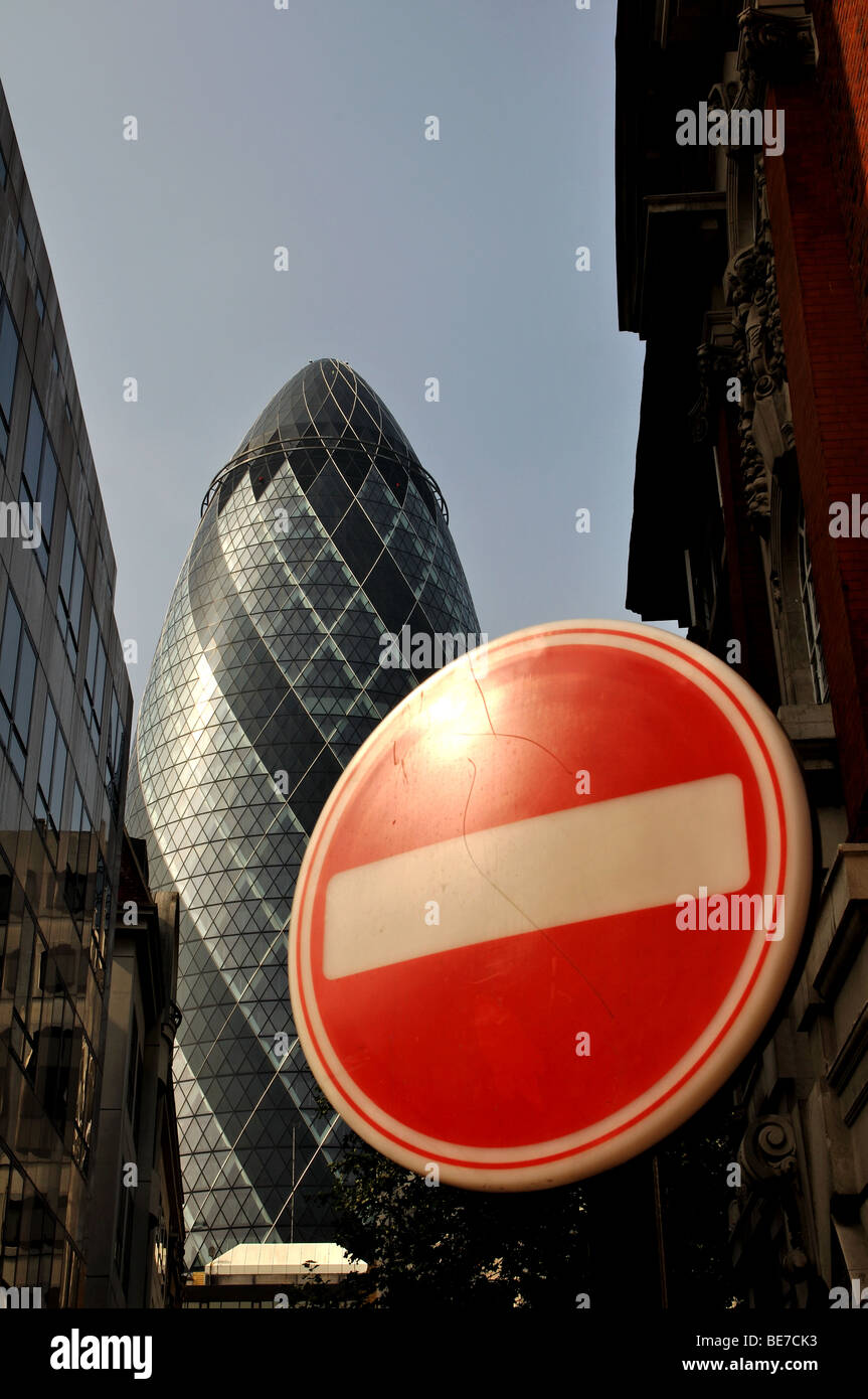 No entry sign and the Gherkin from Cunard Place, London, England, UK - Stock Image