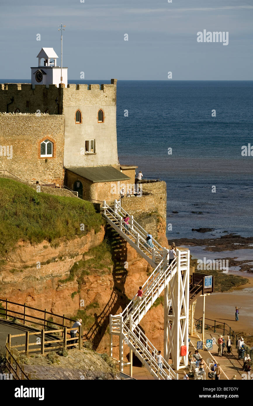 England Devon Sidmouth Connaught gardens lookout & Jacob's beach - Stock Image