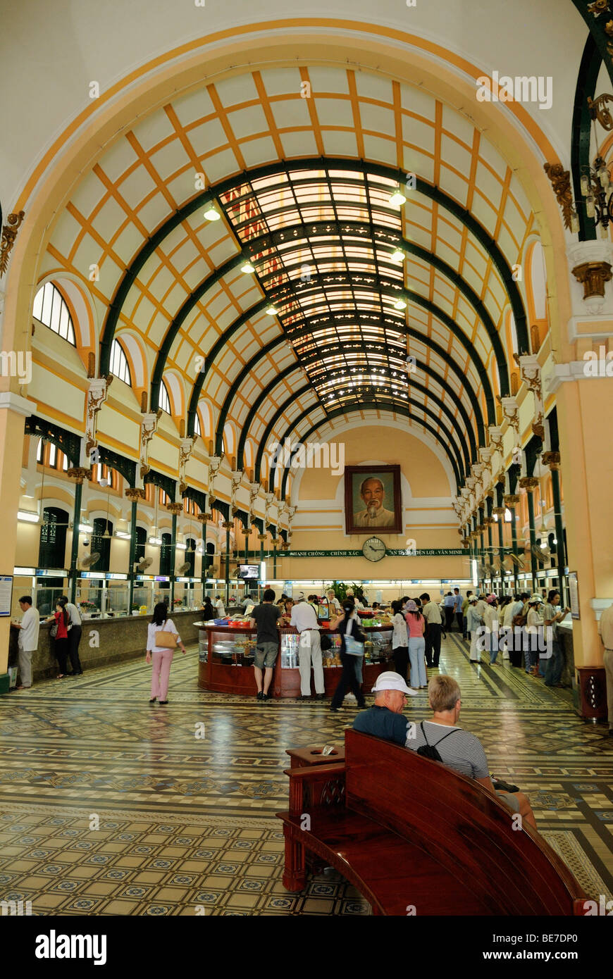 French colonial building, interieur of main post office, Saigon, Ho Chi Minh City, Vietnam, Asia - Stock Image