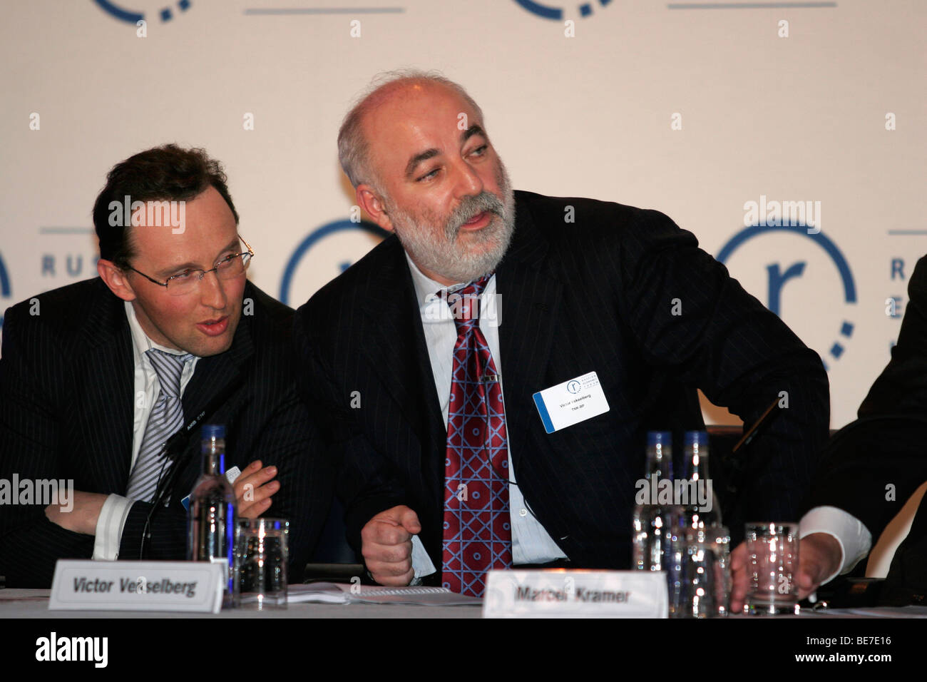 Petr Aven and Victor Vekselberg (right), Russian oligarchs during Russian economics forum in London - Stock Image