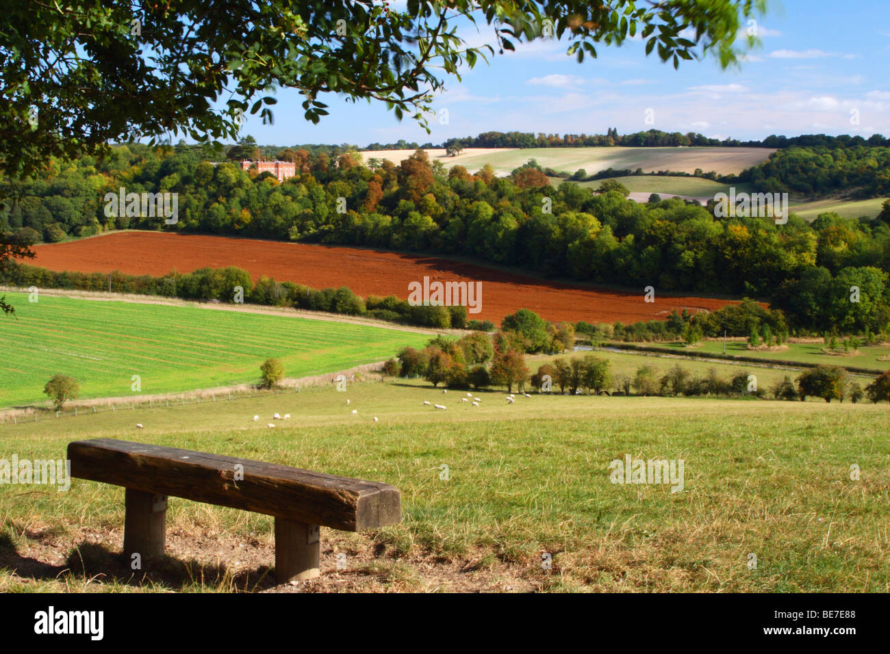 View over Hughenden Valley with Hughenden Manor in the distance. High Wycombe, Buckinghamshire, United Kingdom. - Stock Image