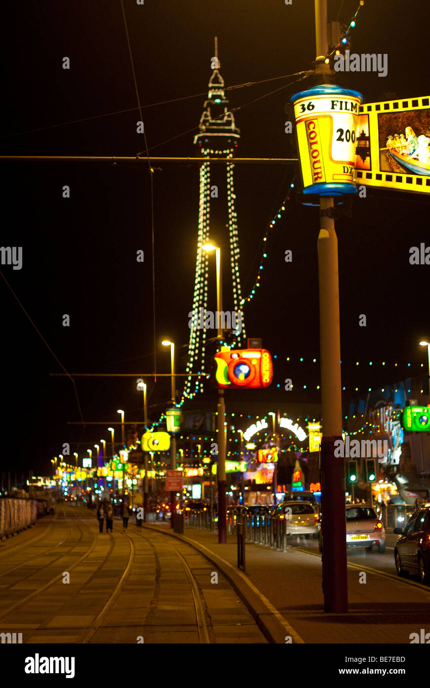 Blackpool, UK: Blackpool Tower and promenade during the annual illuminations Stock Photo