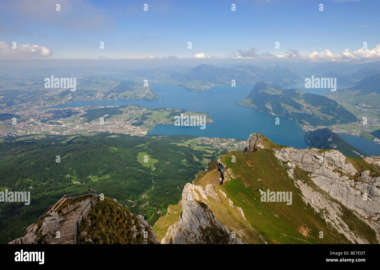 View from the summit of Mount Pilatus on Lake Lucerne and Lucerne, Switzerland, Europe - Stock Image