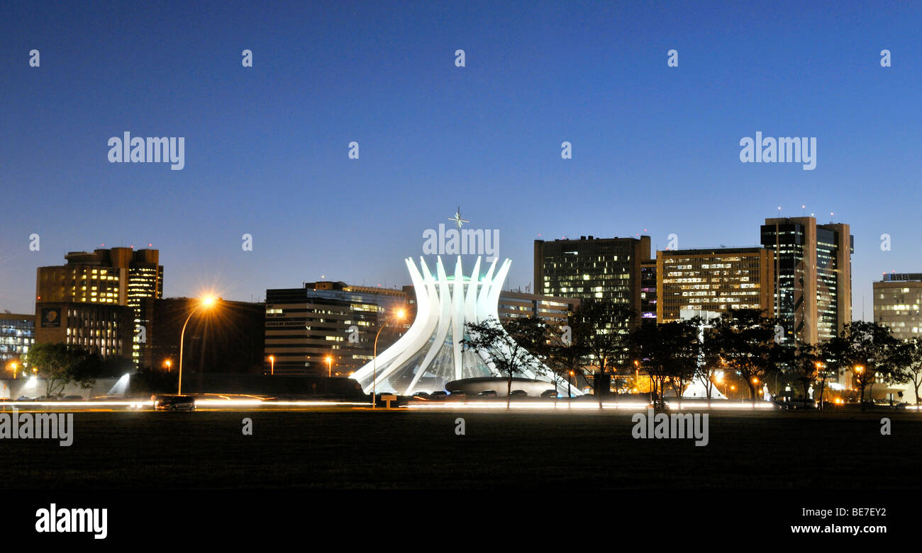 View of the Cathedral of Brasilia in the evening light, architect Oscar Niemeyer, Brasilia, Distrito Federal state, Stock Photo