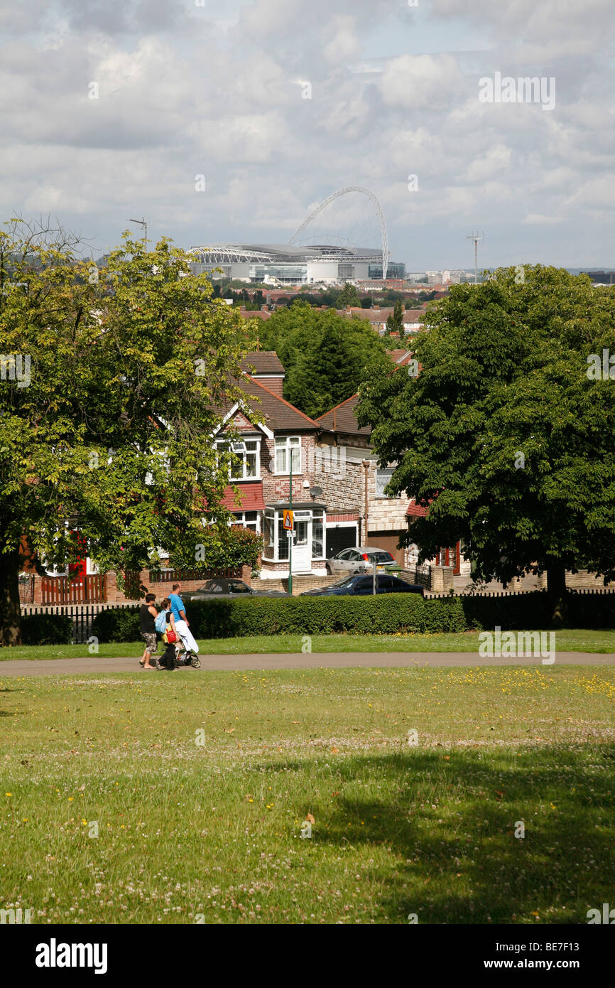 View of Wembley Stadium from the top of Roundwood Park, Willesden, London, UK - Stock Image