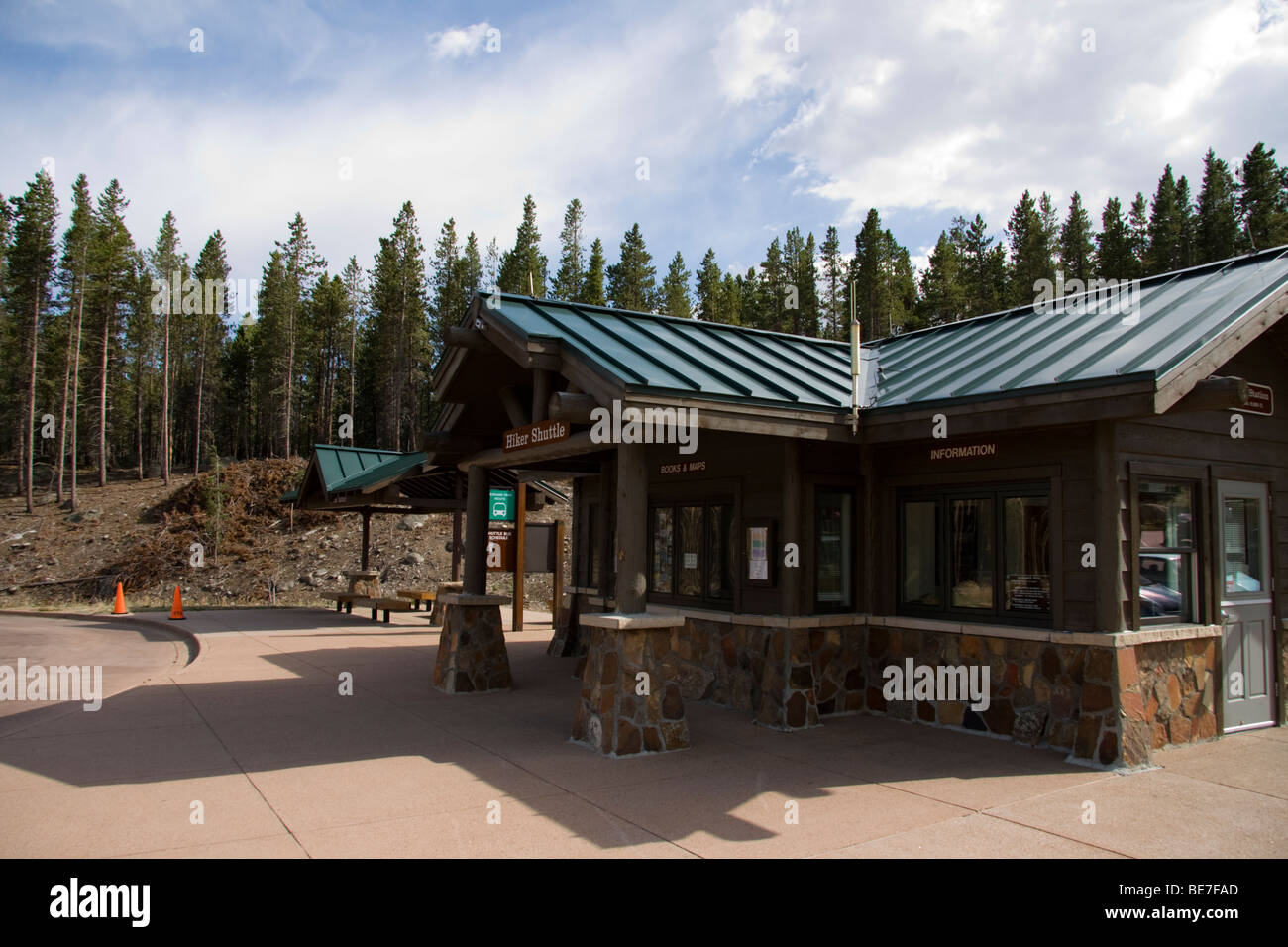 Shuttle bus Park and Ride building, Rocky Mountain National Park, Colorado - Stock Image